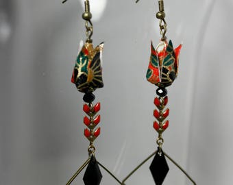 Origami lotus flower earrings red black and gold