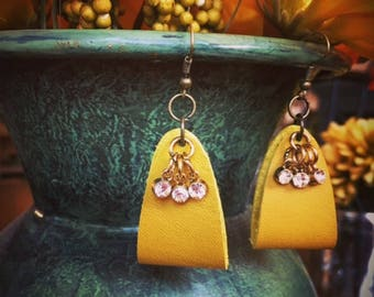 Mustard Yellow, Suede Earrings with Pendant