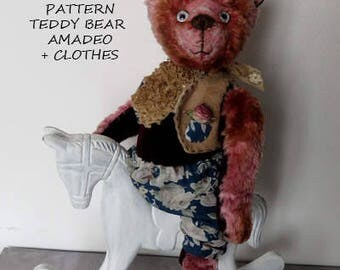 Pattern Teddy Bear + Clothes (3 pieces). Amadeo