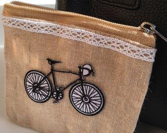 Jute Bike Coin Purse
