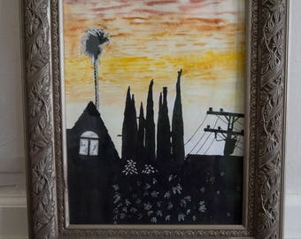Original Watercolor: Redlands Sunset