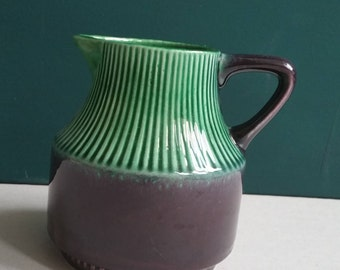 Vintage vase handle vase Midcentury made in Germany ceramic green purple milk jug