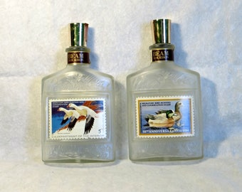 Vintage Jim Beam Bourbon Decanter Duck Stamp Series Set of 2 Empty Decanters 50th Anniversary Stamp and Ross Geese Stamp Collector Decanters