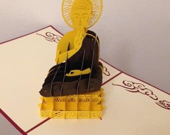 Handmade 3D pop up popup Buddha birthday religious card father's day mother's day wedding anniversary party invitation buddist Zen gift art
