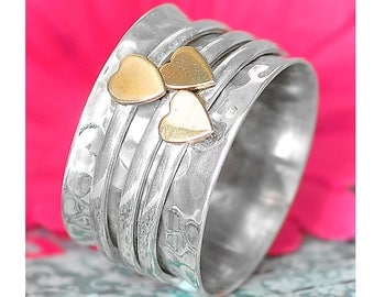 925 Sterling Silver Ring, Hearts Ring, Spinner Ring, Meditation Ring, Wide Band, Two Tone Ring, Spinning Ring, Boho Ring, Rings For Women