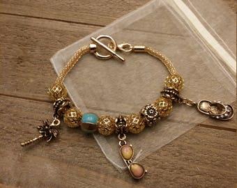 Gold Island Beach Charm Bracelet