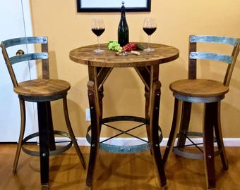 WINE BARREL Stave BISTRO Set Rustic Furniture Bar Pub Napa