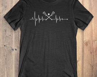 Lacrosse T-Shirt Gift: Heartbeat Lacrosse