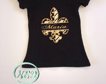 New Orleans Saints Fleur De Lis Girl's Applique Shirt