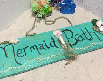 Mermaid Bath Sign   Mermaid Wall Decor   Beach House Wall Decor   Bathroom  Decor  Nautical wall decor   Etsy. Nautical Wall Decor For Bathroom. Home Design Ideas