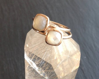 Plated Moonstone ring special gold thin ring