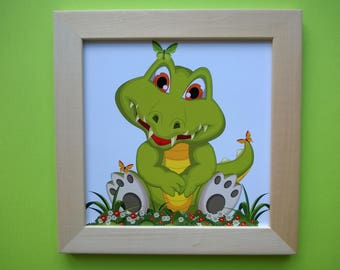 Decoration for children's room: Adorable crocodile, green and yellow colors