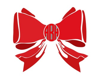 Bow svg file Bow Monogram Initials SVG Digital cutting file