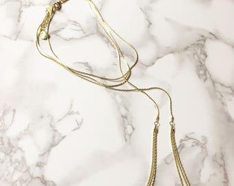 18K Gold Plated Tassel Layering Necklace, Tassel Necklace, Gold Y Necklace, Lariat Necklace, Long Necklace