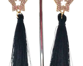 Dangle earrings black and gold with star