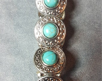 Silver and turquoise women's  bracelet