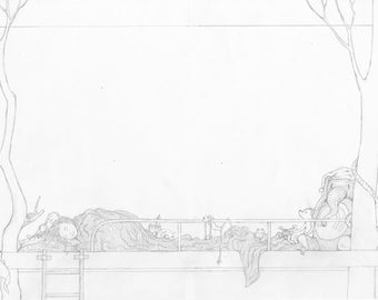Pencil drawing of girl sleeping in her tree-bed with her cuddly toys