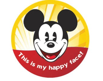This is My Happy Face Mickey Button - Mickey Mouse Pin - Theme Park Button