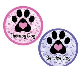 Therapy Dog Button - Service Animal Button - Pink Service Dog Button - Purple Therapy Dog Button - Service Dog Pin - Therapy Dog Uniform