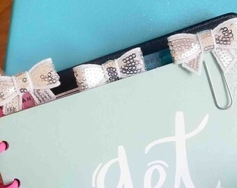 3 Silver bow planner clips