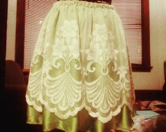Green and White Lace Skirt
