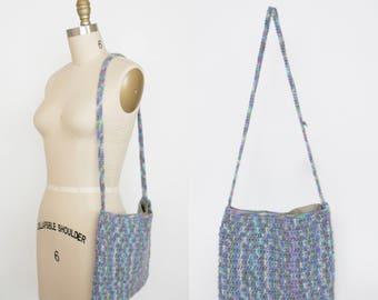 Vintage Crochet Shoulder Bag - 70s Purse - Multi Color - Psychedelic Rainbow - Cross Body Bag - Long Strap - Boho