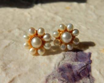 Vintage Inspired Pearl Earrings, Sliver and Pearl Earrings, Flower Earrings, Studs, Handmade