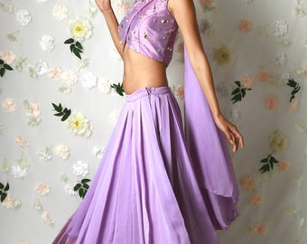 Lavender Lehenga with 3D Roses