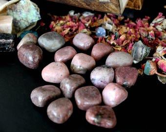 ONE Tumbled Rhodonite Stone - Chakra Healing Crystal, Heart Chakra, Polished Rhodonite, Emotional Balance, Humanity, Forgiveness, Reiki