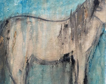 VIEIL AMI/Old Friend – Medium Sized Original Horse Painting, Abstract Acrylic on Canvas, Small Canvas Art. Cream, Blue, Contemporary