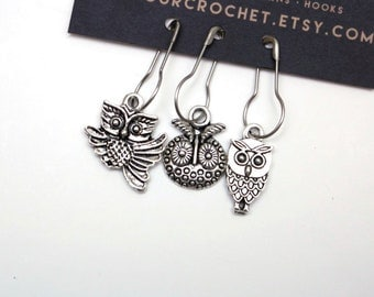 Set of 3 owl stitch markers; silver toned metal on bulb shaped safety pins