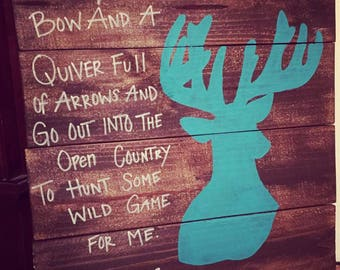 Rustic Hunting Sign, Deer Sign, Hunting Sign, Genesis 27:3, Bible Verse Hunting Sign, Reclaimed Wood Sign, Rustic Sign, Wood Sign