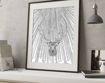Elk in Woods pen and ink illustration print limited edition signed and numbered