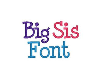 Big Sis Font Upper, Lower, number and symbols in 3 sizes and 10 Formats