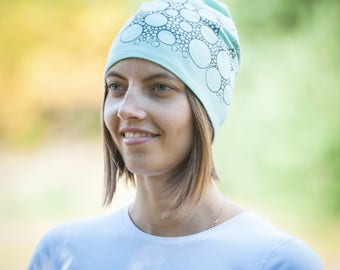 Women beanie hat Mint slouchy jersey beanie Hat for ladies Adult scull cap Spring hat Cotton lining Slouchy beanie hat for her Womens beanie
