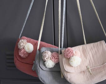 Small handbag Leontine naughty charcoal linen or cream