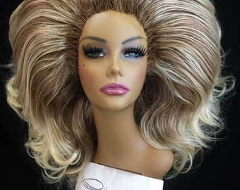 BUXOM - Large Styled Wig for Drag Queens, Theater, Burlesque in Toffee Brown Roots with Light Blonde Tips Ombre