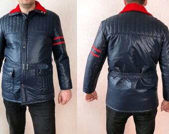 Men 80s Ski Jacket Men Large, Stranger Things Jacket Men Vintage, Retro Winter Jacket Men XL, 70s Ski Jacket Vintage Mens, Winter Jacket Men
