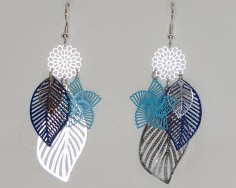 Earrings prints leaves, flowers, large leaves, turquoise, silver, dark blue, dangle Earrings, spring jewelry fine jewelry