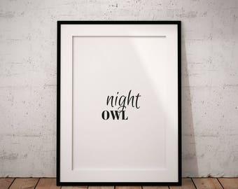 Night Owl Printable, Night Owl Wall Art, Minimal Wall Art, Office Decor Wall, Home Decor Wall, Funny Print, Digital Print, Instant Download