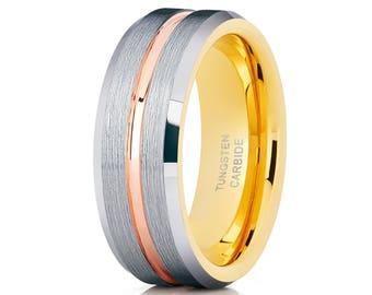 Yellow Gold Tungsten Wedding Band Tungsten Carbide Ring Men & Women Rose Gold Tungsten Ring Engagement Band Brush