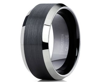 Black Tungsten Wedding Band Tungsten Carbide Ring Men & Women Brush Wedding Band Beveled Tungsten Band Comfort Fit