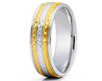 Hammered Gold Wedding Band 14K Yellow Gold Wedding Band Anniversary Ring Men & Women Gold Wedding Ring Comfort Fit