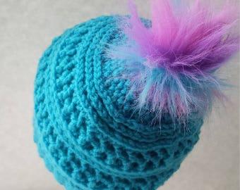 Textured Beanie w/faux fur pom pom, Crochet beanie, Pom Pom Beanie