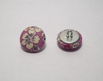 6 liberty fabric covered buttons frou-frou pink India 21 mm