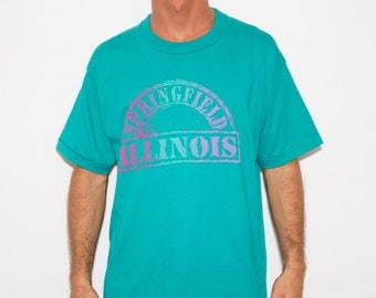 Springfield, Illinois, American, USA, Americana, Unisex, Illinois State Shirt, Vintage T-shirt, Distressed, Green, Rainbow, Ombre Color