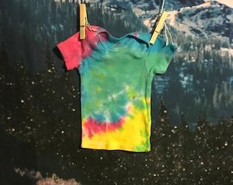 rainbow tie dye baby tee, size 6-9 months
