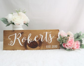 Wooden Last Name Sign. Bridal Shower Gift. Last Name Sign.  Rustic Wedding Sign. Wedding Gift. Housewarming Gift. Wedding Photo Prop Sign