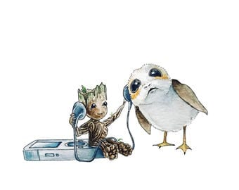 Groot & Porg Watercolor Illustration Art Print, Fandom mashup, Star Wars, Guardians of the Galaxy