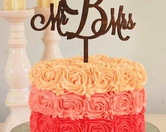 Letter b cake topper initial cake topper cake topper b Surname cake topper Mr and Mrs Cake Topper gold Personalized Cake Topper Mr Mrs cake